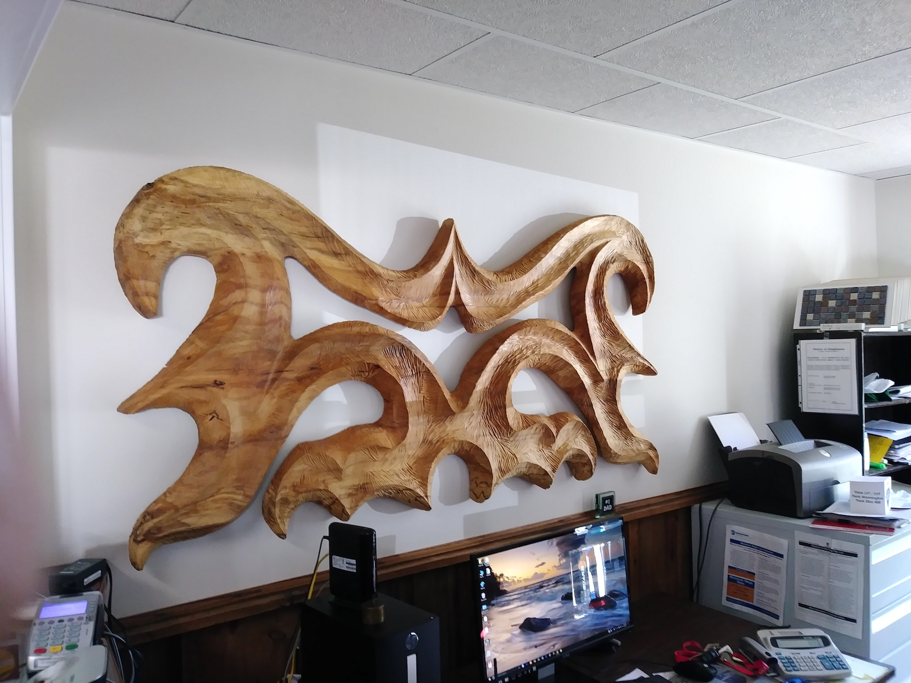 Custom quot thick tiger maple shelves with satin lacquer