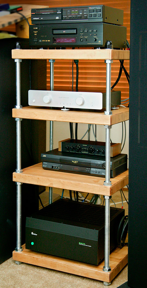 Maple Stereo Rack with All Thread Rods and  Natural Finish