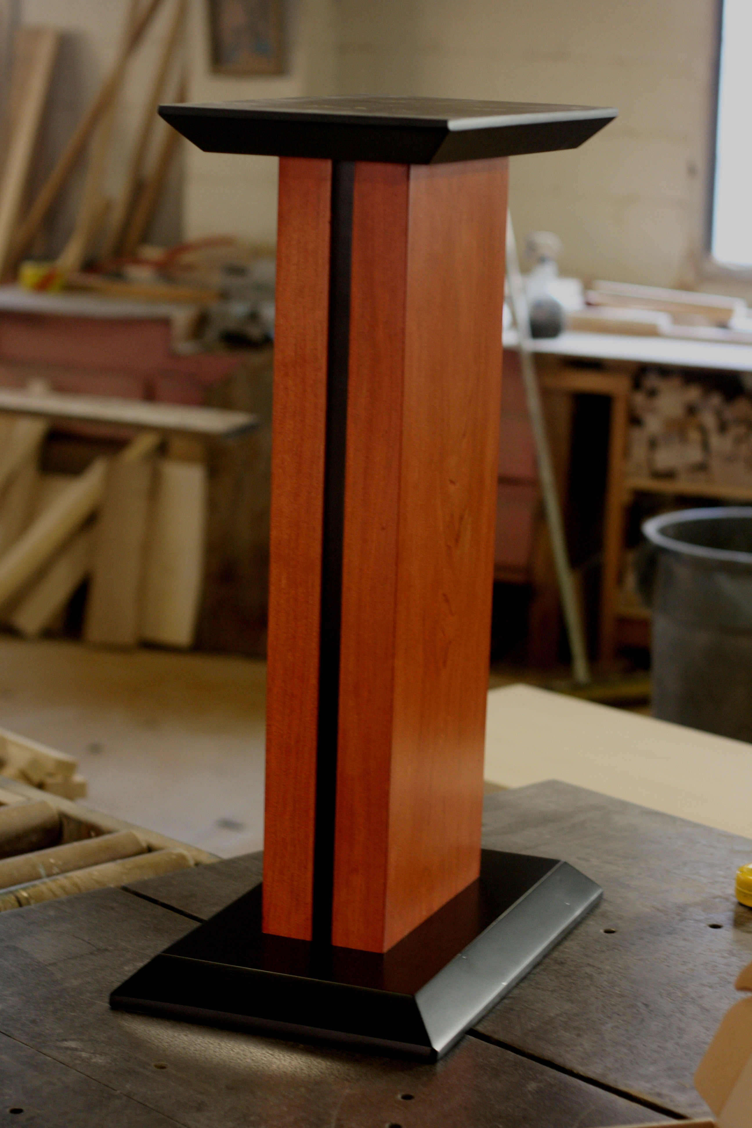 Maple with Dark Cherry stain and Black Top, Stripe, and Base