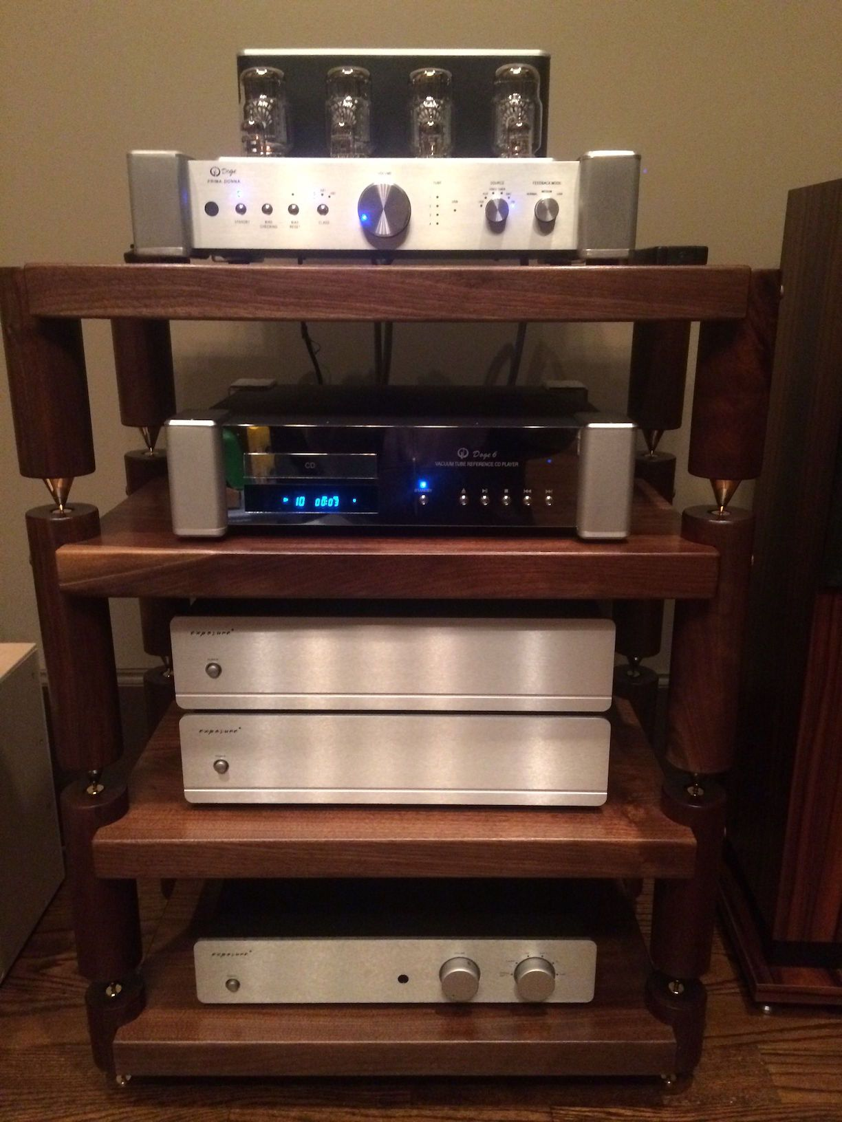 Wide 3 Shelf Maple with Teak Stain Audio Rack