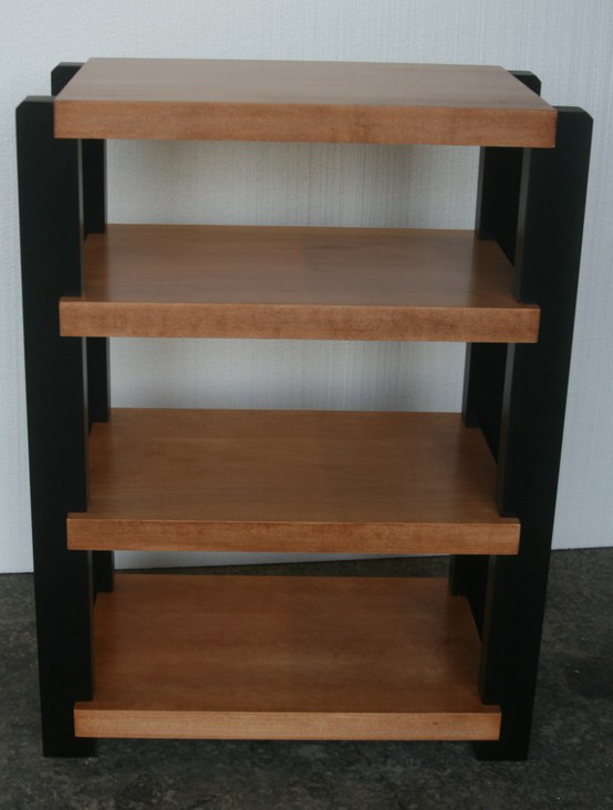 Maple Rack with Black post and Teak Stain