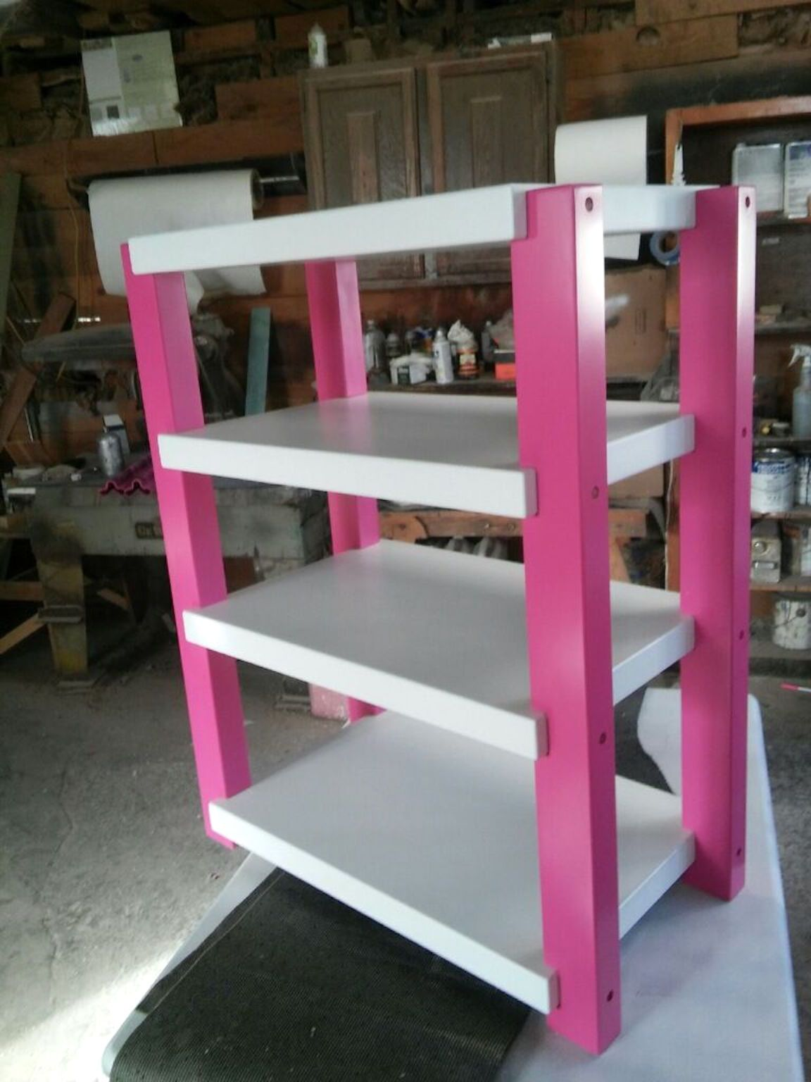 White Shelves with Pink Posts