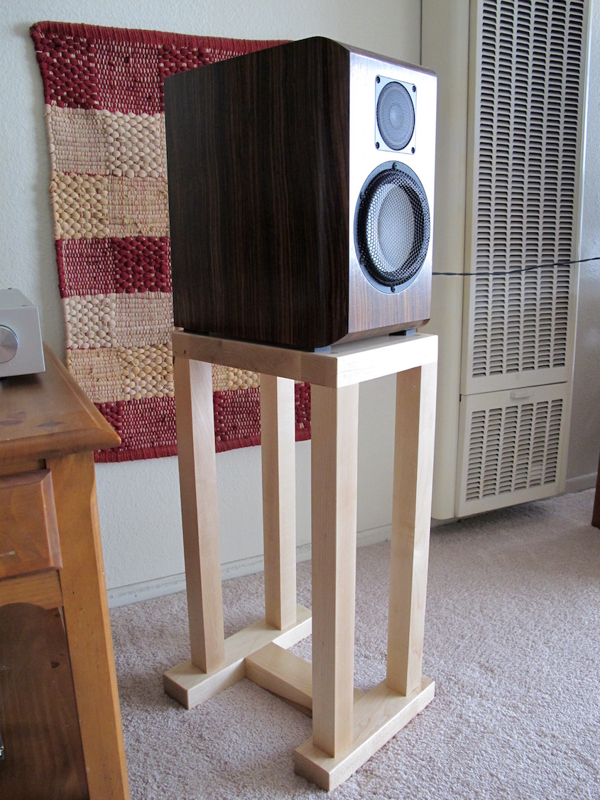 Tall 4 Legged Maple Speaker Stand