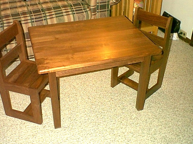 Childrens Walnut Table and Chair Set