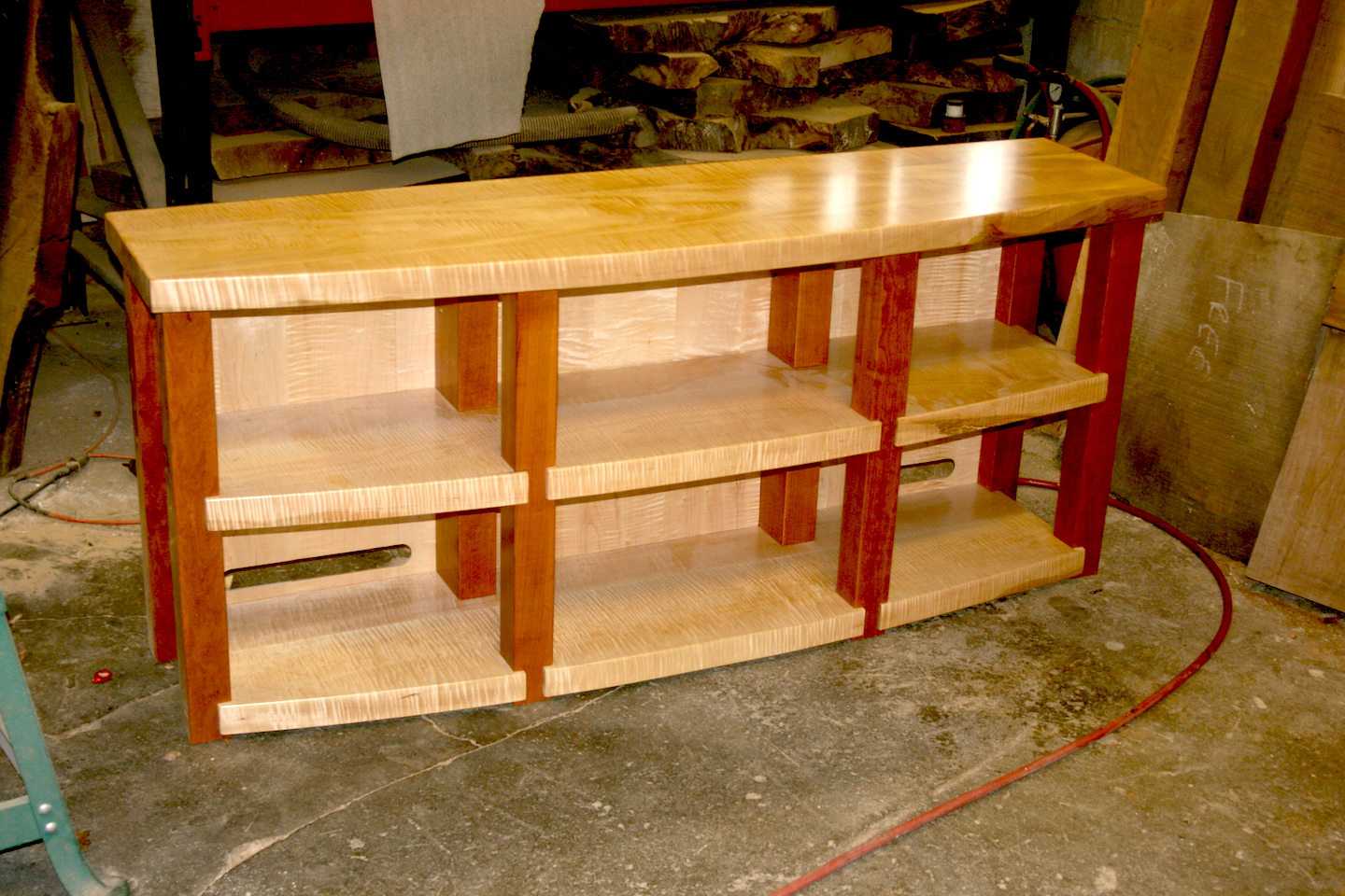 Custom 3 1 Shelf Tiger Maple High End Audio Stereo Rack With Satin Lacquer Finish On Pic For Info And