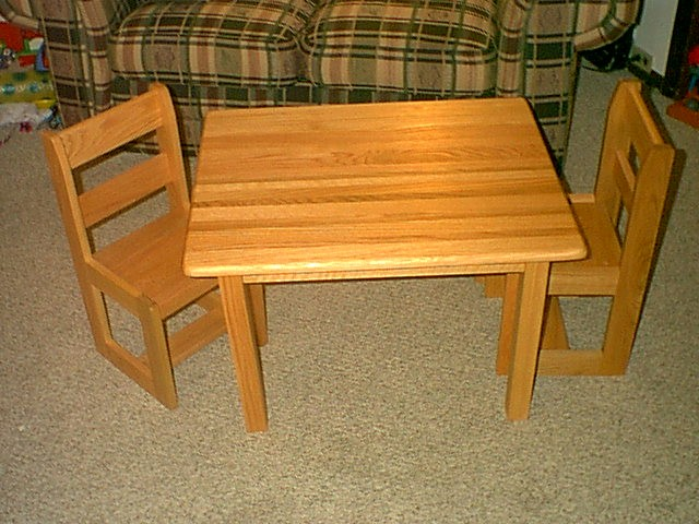 Childrens Oak Table And Chair Set