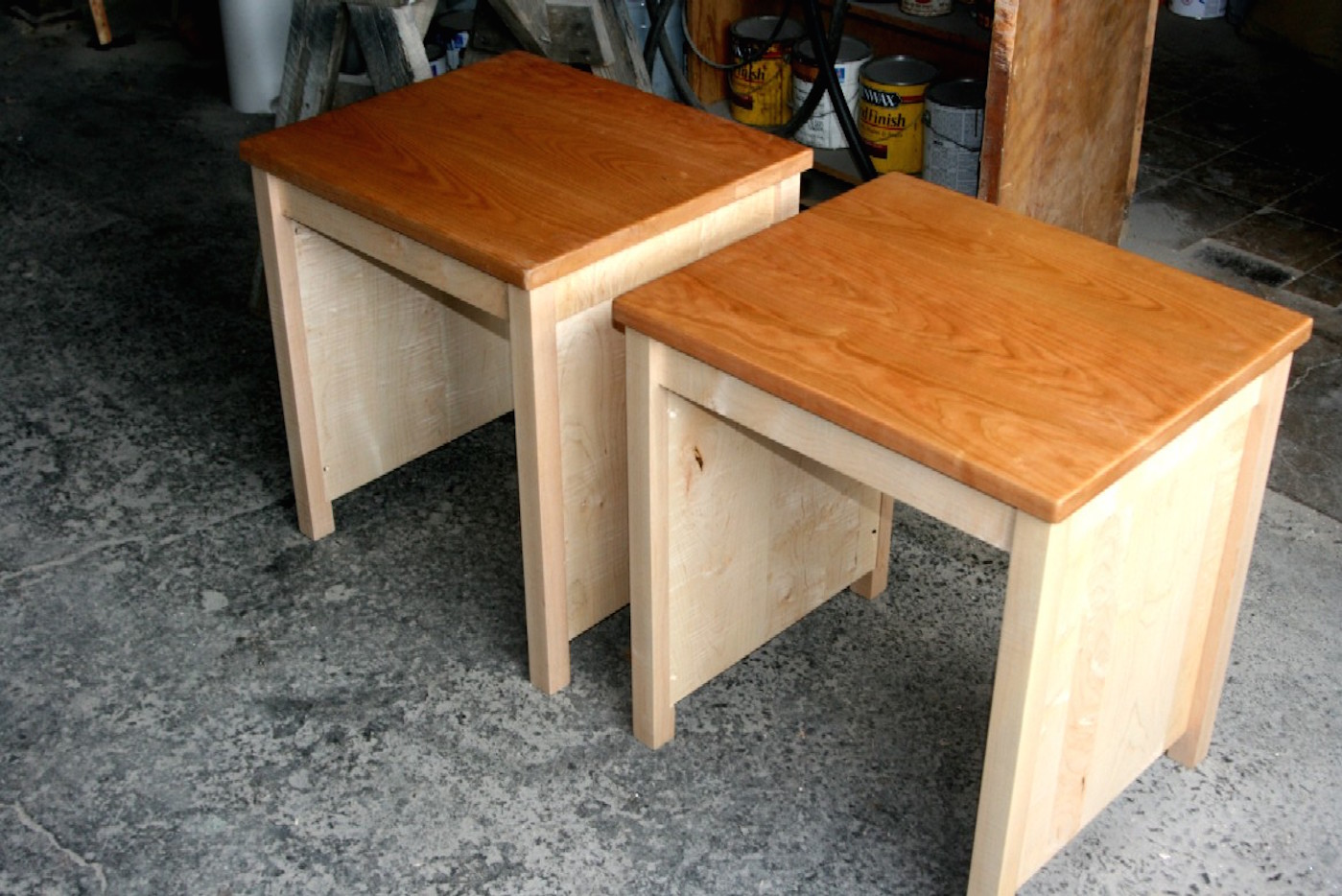 End Table, 2 Piece Cherry W/ Maple End Tables