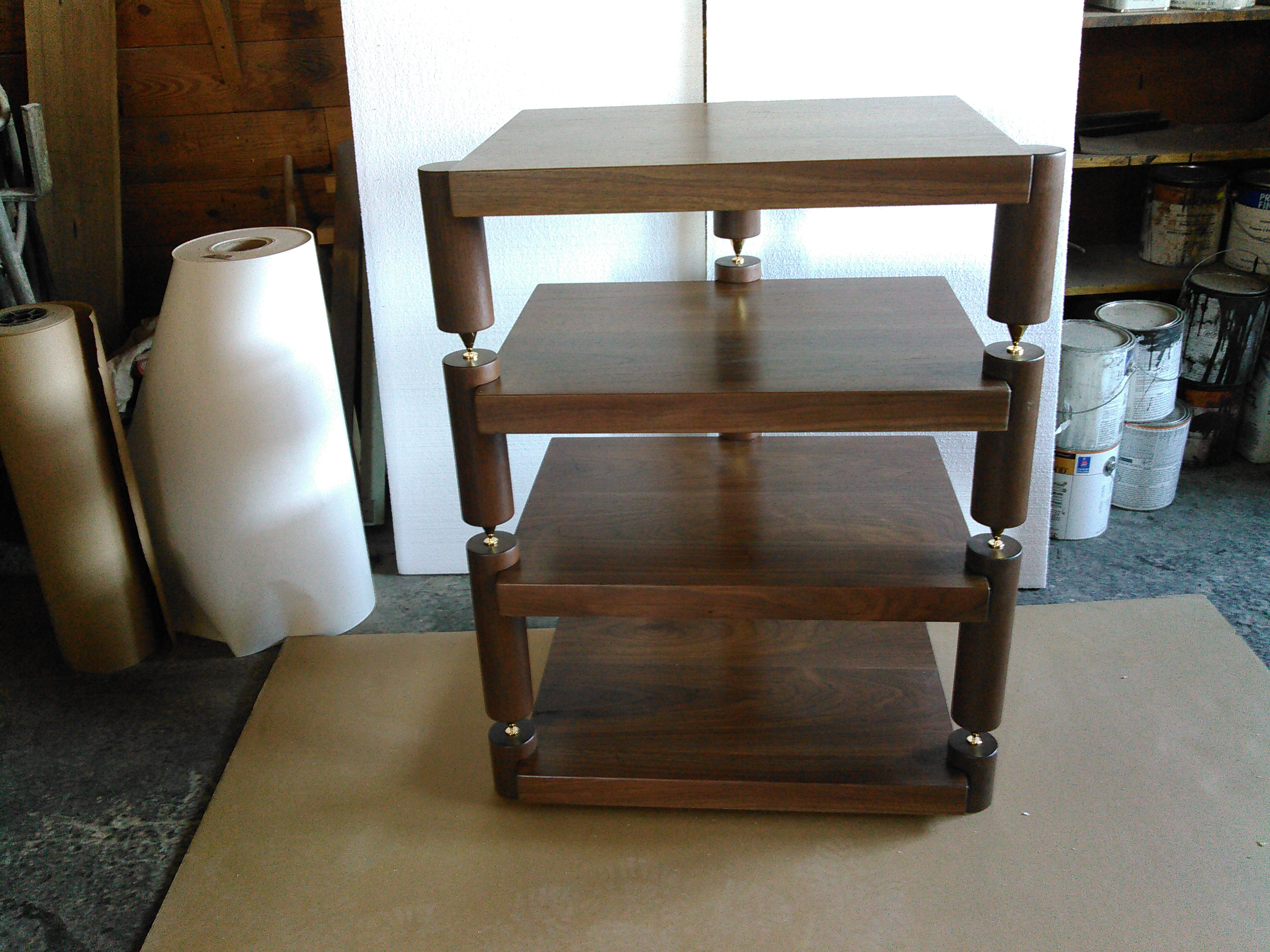 Walnut Stack Rack W 3 Round Posts Shelves 16 Deep X 24 Wide 2 Thick 22 Of Usable E Between The These Can Be Made To Any Dimension